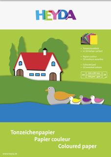 Tonzeichen-Block A4 sonnengelb, mittelrot, pink, flieder, maigrün, dunkelgrün, dunkelblau, mitte