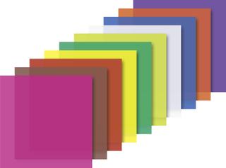 Faltblätter transparent 15 x 15 cm weiß, zitronengelb, orange, mittelrot, pink, flieder, mittelblau