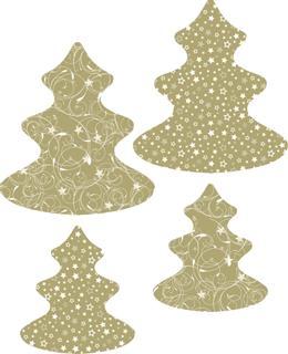 Fächerkugel Papierset Baum gold