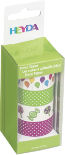 "Deco Tapes ""Balloons multi-colour"" each roll 5 m x 15 mm various colour"