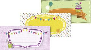 "Klebe-Etiketten ""Party"" 9,5 x 4,5 cm bunt"
