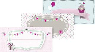 "Klebe-Etiketten ""Party"" 9,5 x 4,5 cm pastel"