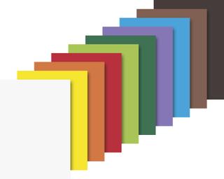 Fotokarton-Bastelmappe 25 x 35 cm weiß, sonnengelb, orange, mittelrot, grasgrün, dunkelgrün, fliede