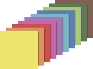 Faltblätter 15 x 15 cm weiß, zitronengelb, orange, mittelrot, rosa, pink, flieder, hellblau, himmel