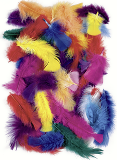Feather Mix 4 - 20 cm white, sun-yellow, peach, orange, red, rose, pink, lilac, sky blue, turquoi