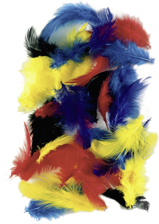 Hen Feathers 5 - 7 cm 4 assorted colours (yellow, red, blue, green)