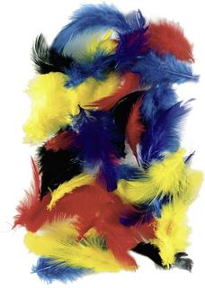 Hühnerfedern 5 - 7 cm 4 Farben sortiert (gelb, rot, blau, grün
