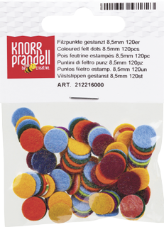 Felt Dots thickness: 1 mm Ø 8.5 mm assorted colour