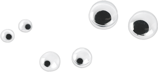 Assortment of Wobbly Eyes Ø 3, 5, 7 mm white with black pupil