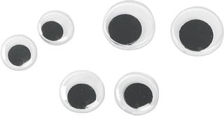 Wackelaugen-Sortiment Ø 7, 10, 12 mm weiß mit schwarzer Pupill