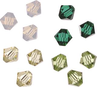 Swarovski Doppelkegel-Mix Swarovski Ø 4 mm grün-gel