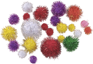 Pompons Ø 10 - 25 mm glitter, assorted colours