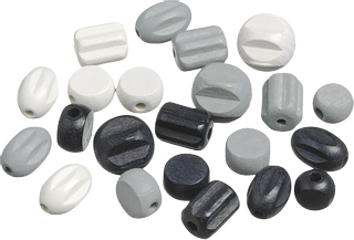 "Wooden Bead Mix ""2"" black, white"