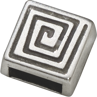 "Slide-On Piece ""Spiral, silver-coloured"" 9 x 9 mm silver-coloured"