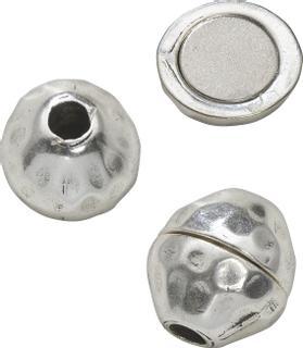 """Magnetverschluss """"Kugel"""" 14 x 15 mm silberfarbe"""