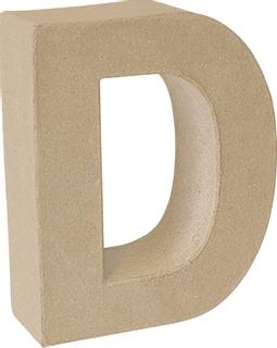 "Papp-Buchstabe 3D ""D"" 17,5 x 14,4 x 5,5 cm natu"