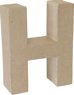"Papp-Buchstabe 3D ""H"" 17,5 x 14 x 5,5 cm natur"